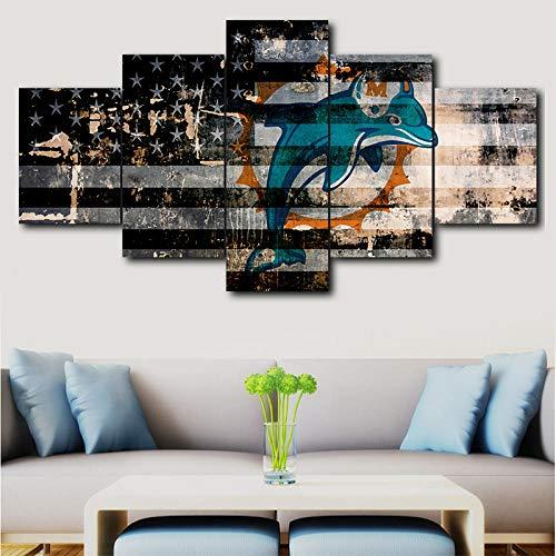 inwandbilder -In Leinwanddrucke Hd Große Leinwand Miami Dolphins Print Malerei Wandkunst Bild Home Decor Sport Logo Poster Moderne Wohnzimmer-A Rahmenlos ()
