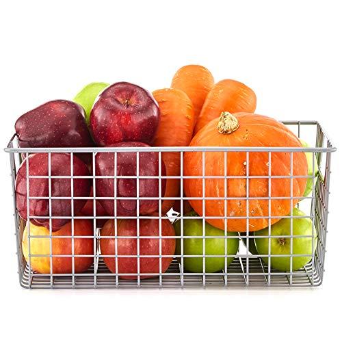 Organisieren-küche-speisekammer (EZOWare Draht-Aufbewahrungskorb aus Metall für Küche, Regale, Speisekammer - Mittel, Silberfarben)