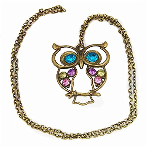 Bunte Kristall Vintage Eule Anhänger Halskette Eule Schmuck Pullover Halskette für Frauen Mädchen Geschenke von TheBigThumb
