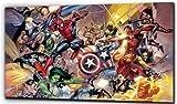 Toile Héros Marvel au combat, noir/blanc, 12' x16'