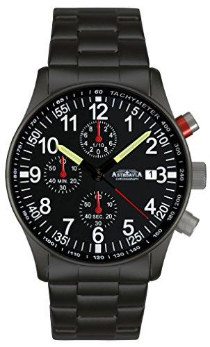 Astroavia Herren-Armbanduhr Chronograph Quarz mit Edelstahl Armband N97 Black