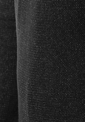 INDICODE Nathen Herren Strickpullover Feinstrick Pulli Troyer mit Stehkragen aus hochwertiger Baumwollmischung Meliert Black (999)