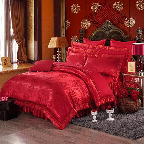 Satin Bettdecke 4 Stück Set Stickerei Blume Tagesdecke Spitze Bett Rock Unsichtbarer Reißverschluss Kissenbezug Abgewinkelte Bandage Bettdecke-D-2.0m -