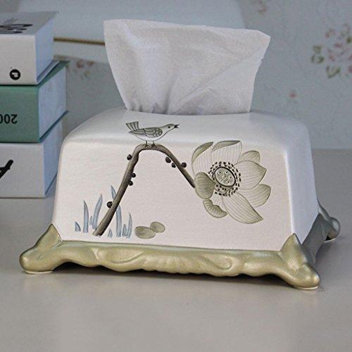 Papier-handtücher Schule (C&S CS Geschnitzte Lotus Art Papier Handtuch Box Home Wohnzimmer handbemalte Tissue Box pastoralen Stil)