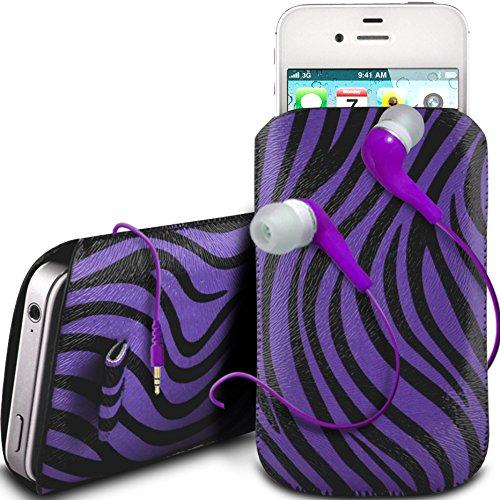 N4U Online - Nokia Lumia 920Protective PU-Leder Zebra-Entwurf Zuglasche Cord Schlupf in Hülle Tasche mit Schnellspanner & 3.5mm Earbud Kopfhörer - Lila