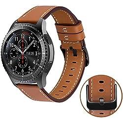MroTech 22mm Bracelet Compatible avec Samsung Gear S3 Frontier/Classic, Galaxy Watch 46mm Bracelet en Cuir véritable de Remplacement pour Huawei Watch 2 Classic/GT 22 mm Bande de Montre Marron