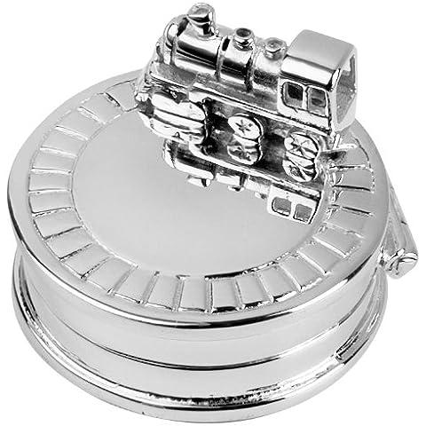 Scatolina placcata argento, decorata con locomotiva, regalo per nascita o