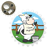 Cow Wearing I Love Vegans Bottle Opener Fridge Magnet