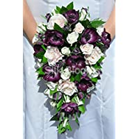 Scottish Fresh touch Anemone viola con motivo rosa e bouquet da sposa con Greenery - Anemone Bouquet Da Sposa