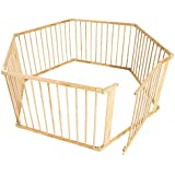 TecTake Large wooden animal puppy enclosure playpen fence free running cage dog rabbit 6 parts