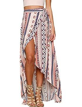 Mujeres Ethnic Print Asimétrico falda maxi vestido envuelto Playa