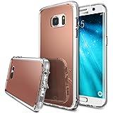 Coque Galaxy S7 Edge, Ringke [Fusion Mirror] Effacer PC Retour TPU Bumper [Goutte Protection / Choc de la technologie d'absorption] [Attaché Dust Cap] Pour Samsung Galaxy S7 Edge - Rose Gold