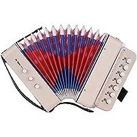 Muslady Juguete de Acordeón Mini para Niños,10 Botones Compatible con Acordes de Bajo 14 Notas con Paño de Limpieza Educativo Instrumento de Música