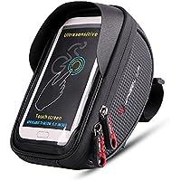 Bolsas de marco de bicicleta, pantalla táctil resistente al agua Ciclismo manillar Soporte de bolsa de marco de teléfono frontal para iPhone 8 7 más 6s 6 Samsung Galaxy s7 s6 otro hasta 6 pulgadas de teléfono inteligente