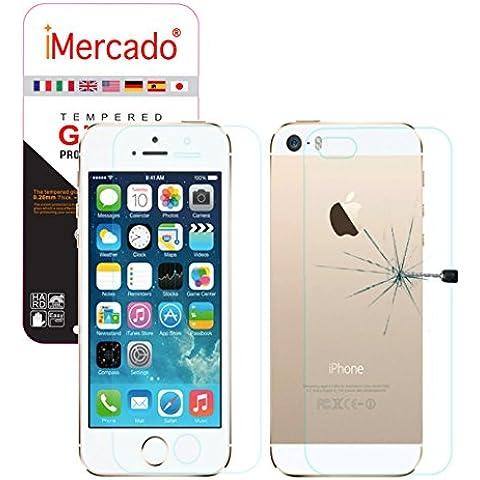 iMercado® | Apple iPhone SE / 5s / 5 - Dos (2) Protectores de Pantalla Empaquetado, Vidrio Templado Delantero y Trasero para iPhone SE / 5s / 5