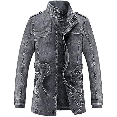 Lavato sezione PU lungo della cintura europea e americana giacca