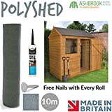 Super Grade Shed Roofing Felt | Green Mineral Poly Shed Felt | Polyester Reinforced | 10m (FREE Nails & 310ml Adhesive)