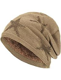 Compagno caldo berretto modello di stella foderato invernale beanie design  in maglia grezza c722e1486d8c