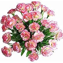 Yocome artificiales falso seda clavel de flores arreglos para el día de la madre nupcial de oficina en casa fuera de la boda decoración de la fiesta de jardín, juego de 2