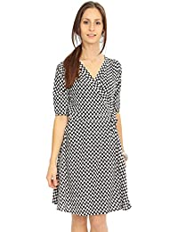 Printed V-Neck Wrap Dress with 3/4 Sleeves