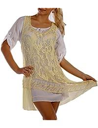 Damen Tunika Kleid, 2 - Teiler, Vintage Romantik Einheitsgroesse 36 - 42