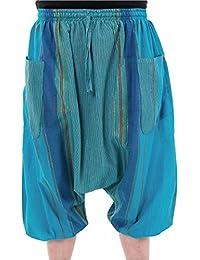 - Sarouel pantacourt bermuda bleu turquoise sari brillant Phiroja -