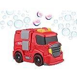 Gadgy Maquina Pompas de Jabon Camion de Bomberos Aire Libre | Movible Burbujas Bubble Blower Maker | 118 ml. Liquido Jabon Incluido | Rojo Auto