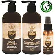 BY MY BEARD Beard Shampoo/Conditioner and Face Moisturiser Oil Complete Triple Pack