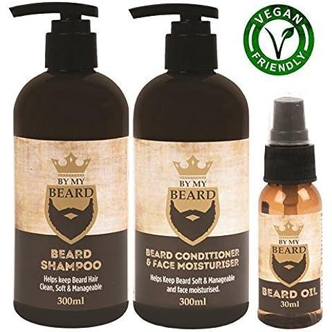 Barba Champú Acondicionador Crema Hidratante de cara aceite completo Kit de regalo Vegan friendly