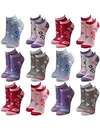 12 Paar modische Sneaker Socken Damen, Herren, Teenager schwarz, weiß, farbig, Größe:35-38, Farbe:12 Paar / Damen / No. 2034F
