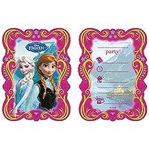 Procos - 82504–Invitaciones con sobre con estampado multicolor de la película de Disney Frozen - Paquete con 6unidades