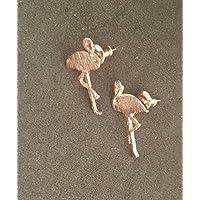 Selia Flamingo Ohrring Vogel Ohrstecker minimal rosegold brushed gebürstet Optik handgemacht Modeschmuck Schmuck, studs geschenk