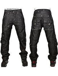 Peviani noir jeans combat, droite-en vrac fit noir cargo g urbain hip hop étoile pantalon jeans time is money