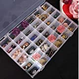 Zollyss Rectangle Plastic Organizer 36 Compartment Storage Box Adjustable Bead Container Rings Jewelry Case Home Organizer