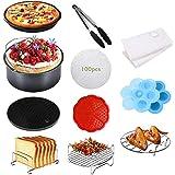Benooa 12PCS Accessoires pour Friteuses,8 Pouces Air Fryer Accessoire,Kit d'Accessoires pour friteuse,Les Accessoires de l'ai
