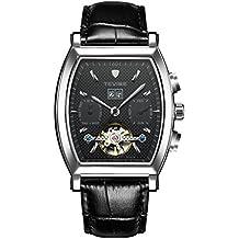 Gazechimp Reloj Automático Mecánico Reloj Puslera Dial Cuadrado - dial de color plata y negro