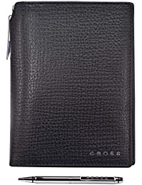 Cross Men's Genuine Leather Global Passport Wallet With Cross Pen - Black