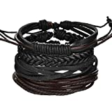 Mixed Genuine Cowhide Leather Bracelet Men Women Braided Adjustable Multi-layer Ethnic Tribal Wrap Bracelet