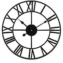 Livivo grande tradizionale stile vintage ferro nero orologio da parete con numeri romani–elegante e 60cm apertura posteriore scheletro metal Frame–uno splendido rilievo per ogni stanza
