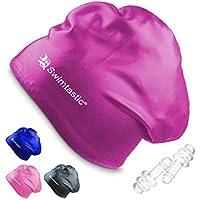 Swimtastic – Gorro de Natación para Pelo Largo + Tapones Oidos – Especialmente Diseñado para Nadadores con Pelo Largo, Grueso o Rizado