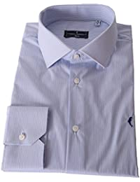 DOMENICO AMMENDOLA Camicia Cortina in Cotone Elasticizzato a Righe celesti, Regular Fit, Made in Italy