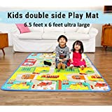 Ozoy Double Sided Water Proof Baby Mat Carpet Baby Crawl Play Mat Kids Infant Crawling Play Mat Carpet Baby Gym Water Resistant Baby Play & Crawl Mat( 6.5 Feet X 6 Feet) Colors and Designs may very (Assorted Colors and Design)