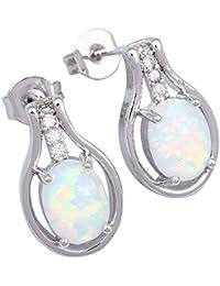 Joya de la marca–Plata Color Blanco Fire Opal Blanco Zircon pendientes de tuerca para Teen Girls Fashion Jewelry E108