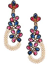 The Jewelbox Floral Cluster 18K Gold Plated Pink Blue Pearl Dangling Earring For Women