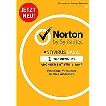 Norton Antivirus Basic Software 2018 / Zuverlässiger Virenschutz (Jahres-Abonnement) für 1 PC / Download für Windows-Betriebssysteme
