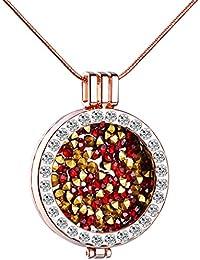 Infinite U Creativa para mujer collar cadena con camafeo intercambiables colorido de aleación de cristal colgante redondo, oro rosa + rojo
