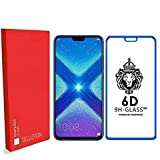 [in Stock] CELLUTION™ Full Glue 100% Coverage 6D Tempered Glass, Full Edge-to-Edge Screen Protector For Huawei Honor 8X (2018) - (Blue)