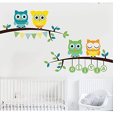 MYVINILO–Adesivo Bambini–Owls Branches/menta, turchese, verde chiaro, giallo, arancione chiaro, marrone, 245x 120cm)