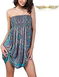 BYD Vestidos de Playa Mujer Impresión Floral sin Tirantes Blusón Bandeau Encorsetado Vestido Tunica Camisolas Playa
