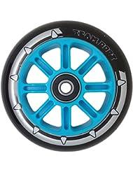 1x equipo Dogz núcleo de nailon rueda para patinete (100mm, incluye rodamientos ABEC 7y azul verde naranja rosa, Black PU Blue Core
